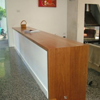 Tallowwood benchtop with waterfall end
